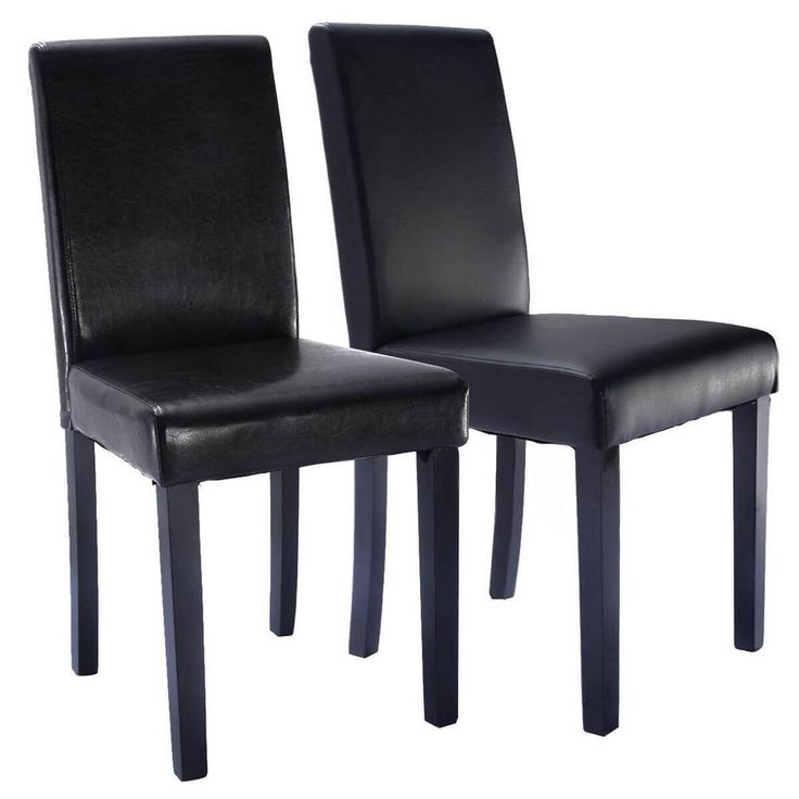 Dining Chair Set Of 2 Elegant Design Leather Contemporary Home Room NEW Black #1 #Contemporary