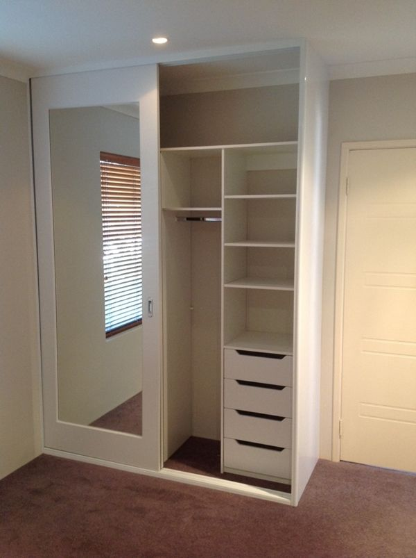 Sliding door wardrobe with compartments