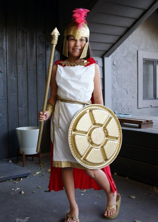 DIY Greek Goddess costume made from a plastic tablecloth.