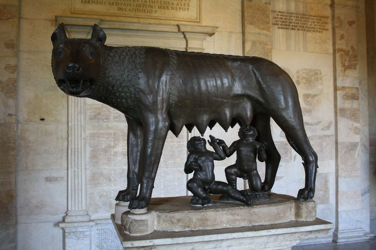 This is the famed statue of Romulus and Remus being suckled by the she-wolf, the Lupa, as told by legend. The alternative explanation is that the wife of the shepherd who found the abandoned twins, Rhea Silvia, was a prostitute and in that way explains the etymology of the story.