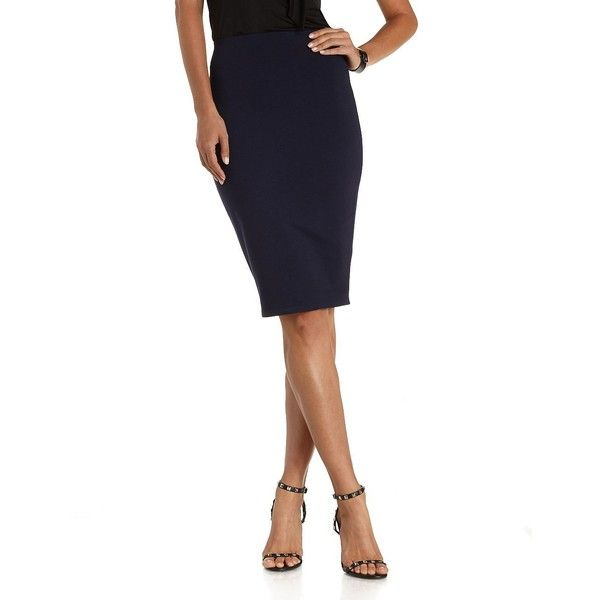 Charlotte Russe Navy High-Waisted Bodycon Pencil Skirt by Charlotte... ($20) ❤ liked on Polyvore featuring skirts, navy, stretch pencil skirt, stretchy pencil skirt, navy blue pencil skirt, bodycon pencil skirt and white knee length skirt