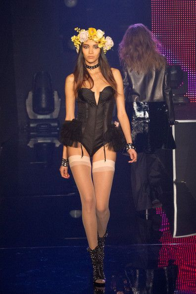 A model walks the runway during the 'Etam Live Lingerie show' 2013 at Bourse du Commerce on February 26, 2013 in Paris, France.