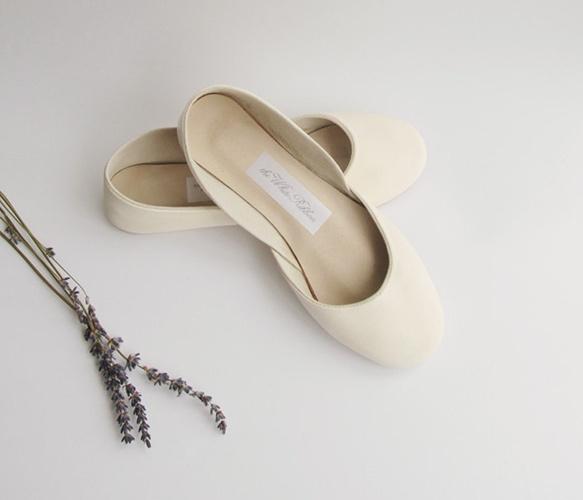 Creme Ballet Flats by the white ribbon