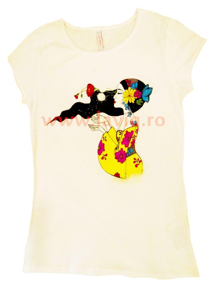 JAPANESE 6 - PRIMAVARA Tricou, 100% bumbac, pictat manual in culori textile www.laviq.ro www.facebook.com/pages/LaviQ/206808016028814
