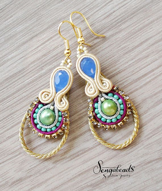 Soutache earrings with freshwater pearls soutache by Sengabeads