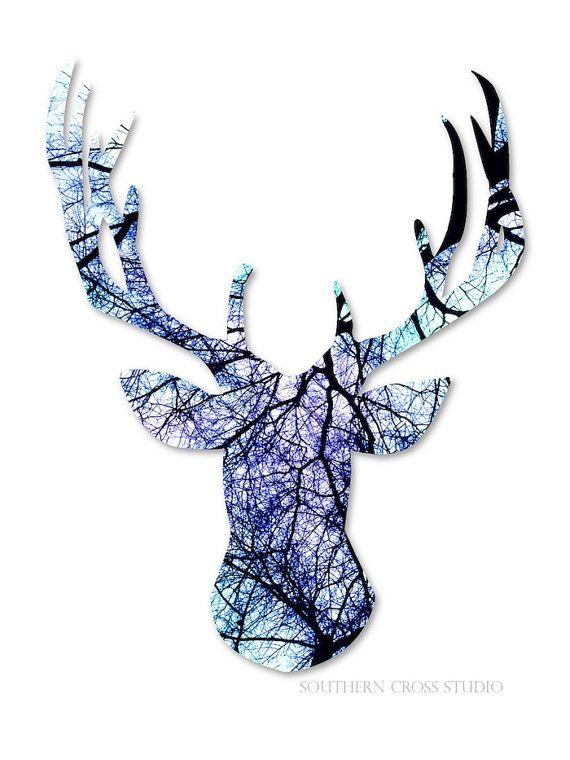 Geometric art print deer antler art black by SouthernCrossStudio