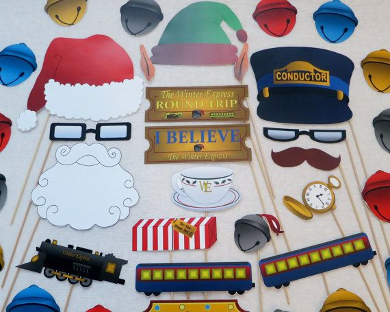 PDF - Christmas Train Photo Booth Props (Winter Express train name) - PRINTABLE Photobooth DIY