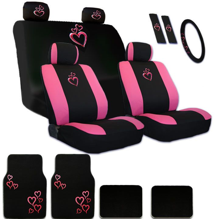 New Ultimate Pink Heart Seat Steering Wheel Headrest Covers Mats For VW