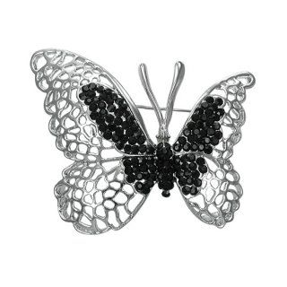 Broche papillon noir et gris