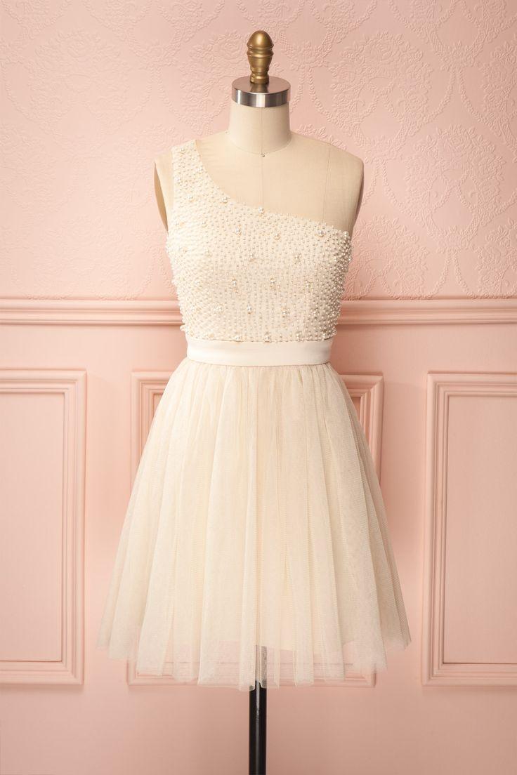 Isabeau - One shoulder pearl detail dress | Boutique 1861