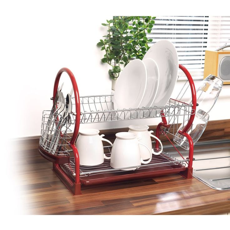 Beldray Dish Drainer - Red. Make sure your dishes are dried with ease thanks to this Beldray Dish Drainer. Also features a cutlery and cup drainer - B&M.