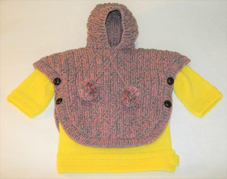 Poncho Com Capuz Lã Motivo Estrelas - 100% merino lã superwash