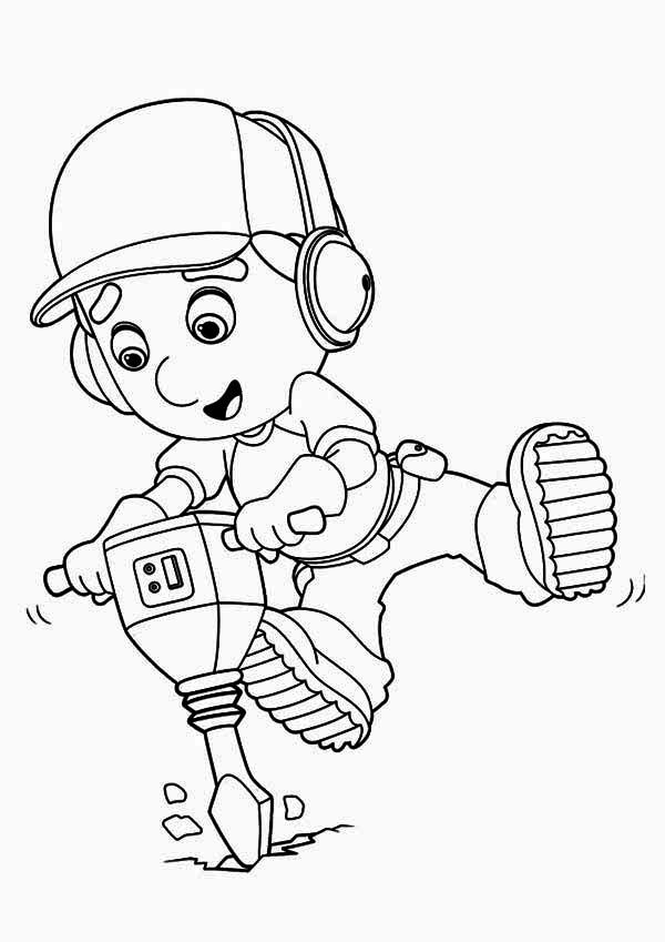 Handy Manny Using Drill Machine Coloring Page Download Print