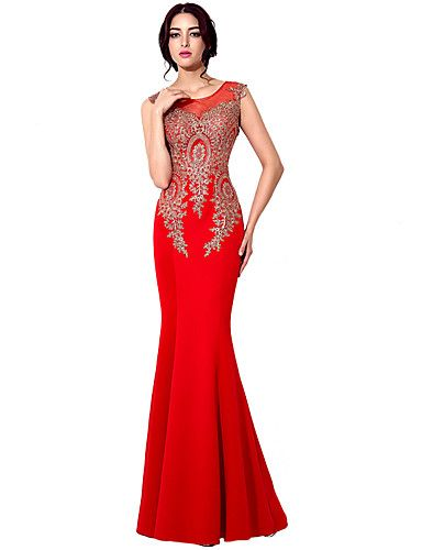 Mermaid   Trumpet Jewel Neck Floor Length Jersey Formal Evening Dress with  Embroidery by Sarahbridal 1f6d5e9e8