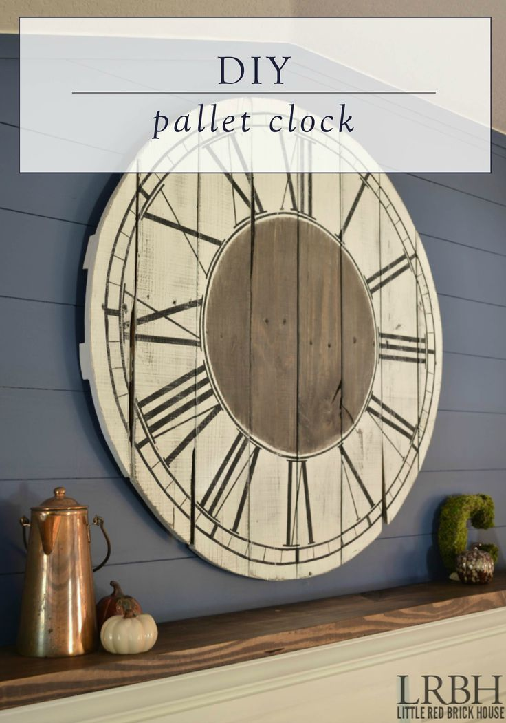 Create your own piece of vintage decor with this DIY pallet clock tutorial. Above your fireplace mantle or sofa, this clock will complement any farmhouse-style living room.