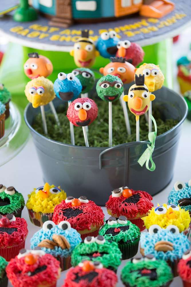 Cake Pops And Cupcakes At A Sesame Street Baby Shower Party! See More Party  Planning
