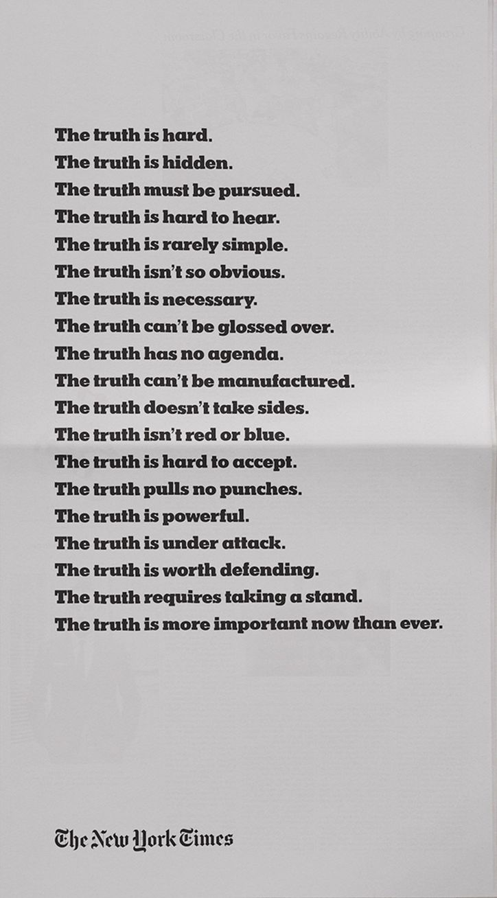 The New York Times launches The Truth Is Hard advertising campaign at the Oscars.