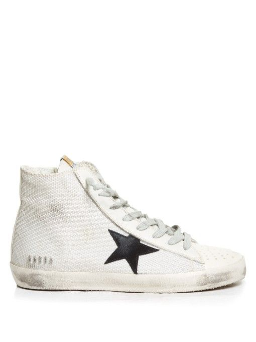 GOLDEN GOOSE Francy High-Top Cord And Leather Trainers. #goldengoose #shoes #sneakers