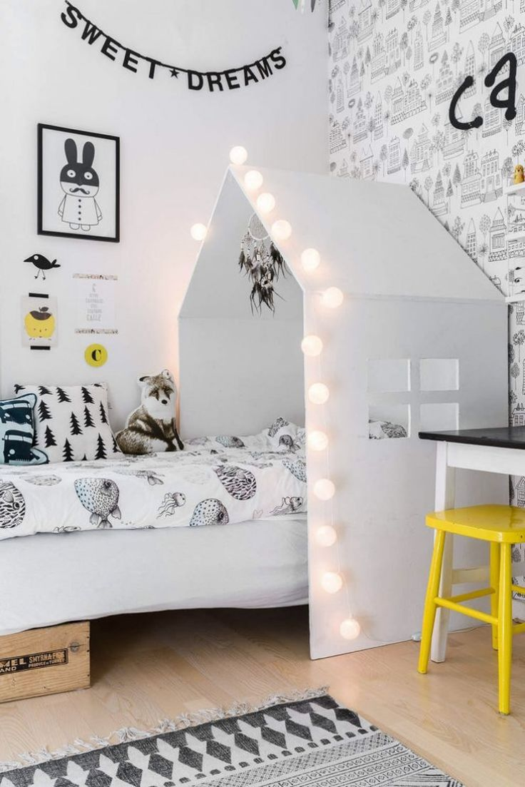 black, white, gray and yellow kids room