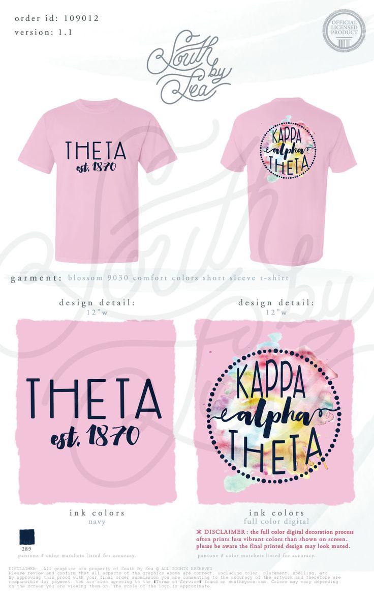 Kappa Alpha Theta | Thetas | Watercolor T-Shirt Design | South by Sea | Greek…