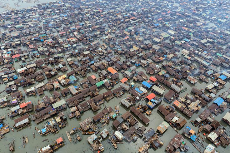 Aerial view of Makoko, a slum of Lagos, Nigeria, on the water. School at Sea - Slide Show - NYTimes.com