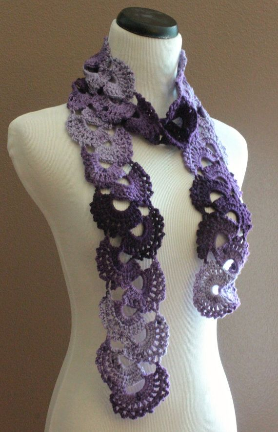 Crochet Scarf Queen Annes Lace Ombre Varigated Multicolor