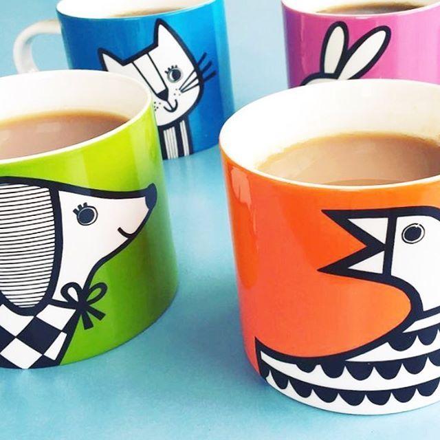 New range of mugs coming soon for @makeinternational #janefoster #animalmugs #newmugs #newwork #janefostermug #janefosterillustrations #minimalism #retromugs #popofcolour #dogmug #duckmyg #bunnymug #newceramics