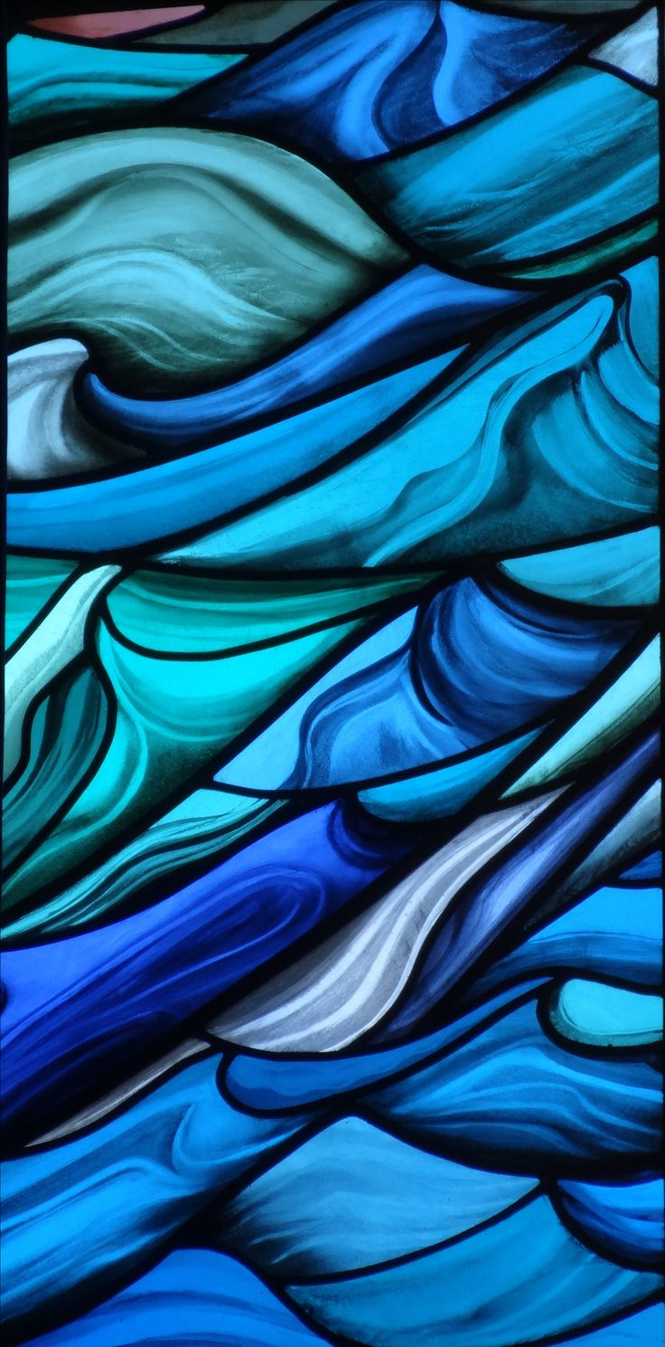 'Stormy Sea' leaded stained glass. Panel from the St Walburga School window by stained glass artist Jude Tarrant of Sunrise Stained Glass Southsea, UK