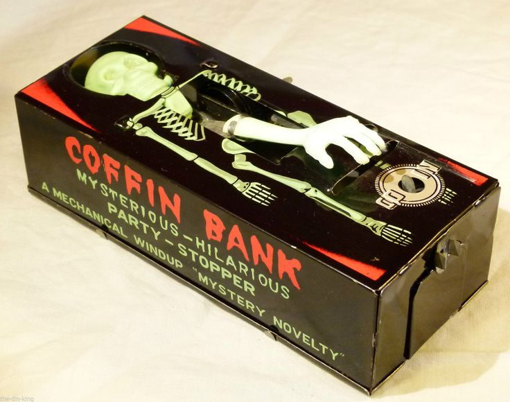 SUPER VINTAGE TIN TOY YONE JAPAN C1960S CLOCKWORK COFFIN BANK MONEY BOX | eBay