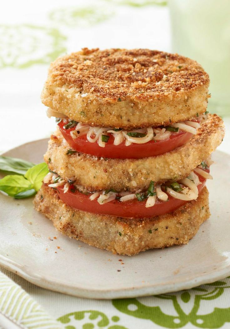 Eggplant & Tomato Napoleons — Sliced eggplant gets a dip in Parmesan ...