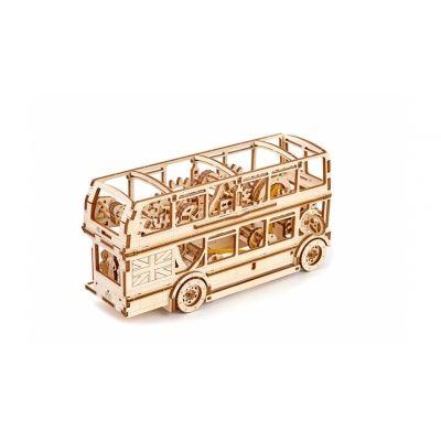 3D-пазл механический Лондонский автобус  • Материал: березовая фанера, резинки; • Сборка без клея; • Заводится специальным ключиком; • Движется при помощи резиномотора; • Длина пути: до 4 м; • Один рычаг управляет скоростью, второй направлением движения; • Количество деталей: 216; • Время сборки: 6 часов; • Рекомендован детям от 14 лет.