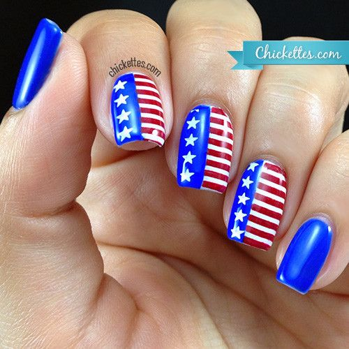 Chickettes.com - 4th of July / Independence Day American Flag Nail Art