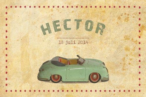 Geboortekaartje jongen - vintage auto - Pimpelpluis - https://www.facebook.com/pages/Pimpelpluis/188675421305550?ref=hl (# vintage - retro - auto - papier - sterren - grunge - speelgoed - origineel)