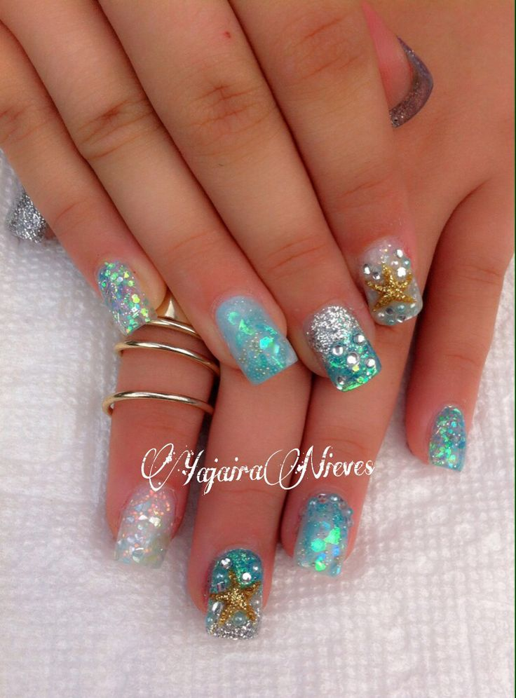 Under the sea theme nails,  Love 3D starfish