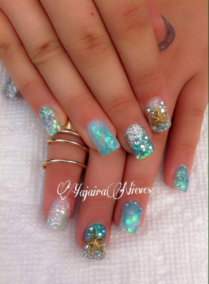 Under the sea theme nails,  Love 3D starfish