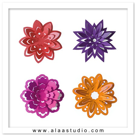 3d Pop Out Flowers Cutting Files Templates In Svg Dxf