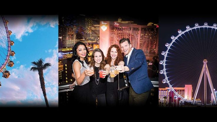 A Three Picture Montage Of The High Roller Showing The High Role During The Day, At Night And Friends Enjoying Themselves On The High Roller Pod