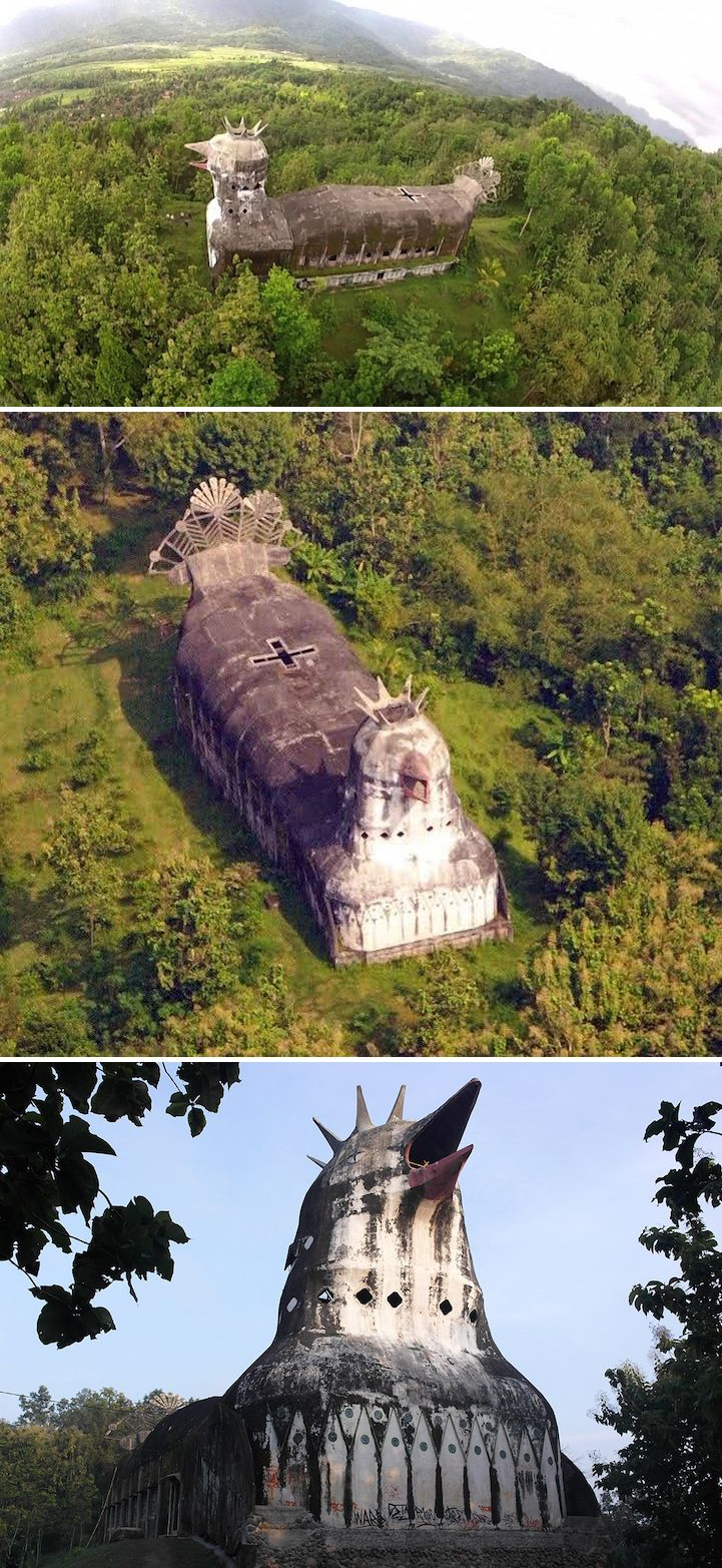 Deep in the dense forests of Central Java, towering above the surrounding trees, lies an abandoned, crumbling church in the shape of a giant chicken with its beak open mid-squawk. #travel #indonesia