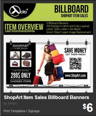 ShopArt Item Sales Billboard Banners - ShopArt Online Shopping Billboard Banners for your sale or discount advertising, posting or promotion.