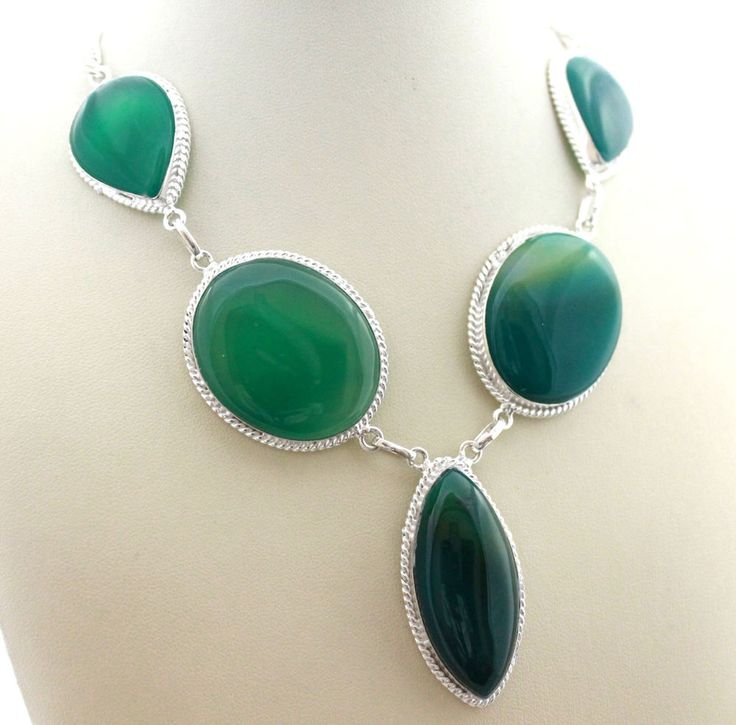 AWESOME GENUINE GREEN ONYX EXCLUSIVE DESIGNER 925 STERLING SILVER NECKLACE S0278 #925silverpalace #Charm