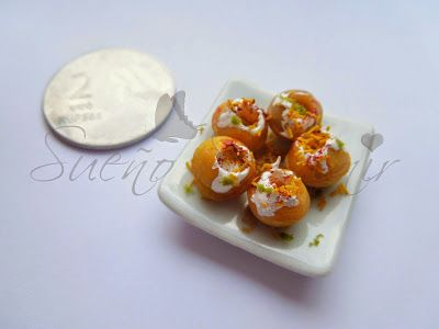Indian food miniature - Dahi puri ( handmade clay miniature )