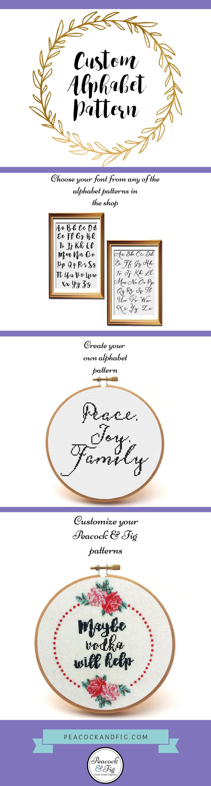 Cross Stitch Alphabets -- custom cross stitch pattern -- customized cross stitch