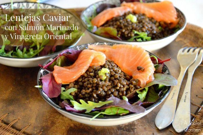 Lentejas Caviar con Salmón Marinado y Vinagreta Oriental