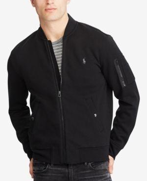 Ralph Lauren Men's Black Double Jacket Polo Bomber Knit Xl N80mvnw