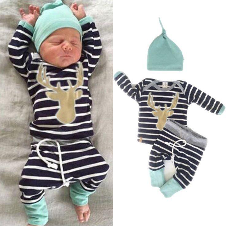 Infand Baby Boy Girl Long Sleeve Tops +Long Pants Hat 3PCS Outfits Set US STOCK