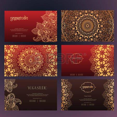 india ornamento: Conjunto de tarjetas de visita y tarjetas de invitación plantillas con encajes ornamento. Centro de yoga. India, el Islam, el árabe, motivos otomanos. Elementos de diseño vintage, o guardar el fondo dibujado fecha de mano.
