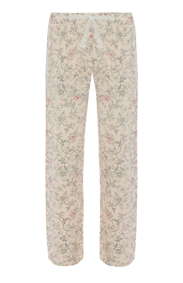 Lichtroze pyjamabroek met bloemdessin