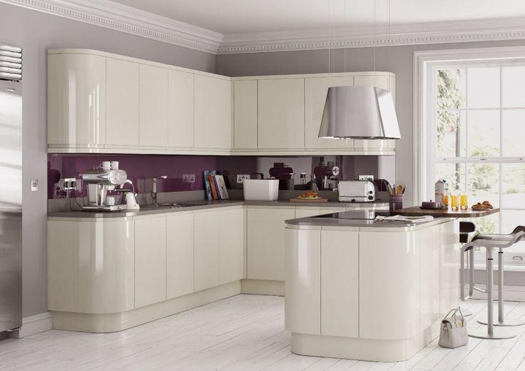 Ivory high gloss doors with dark grey worktops. Would work with light grey floor tiles