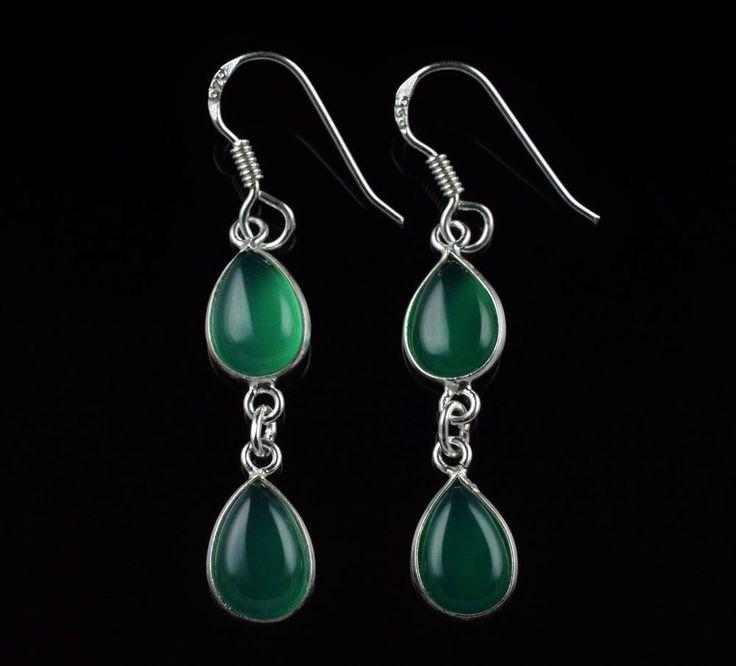 NATURAL GREEN ONYX GEMSTONE HANDMADE EARRINGS 925 STERLING SILVER KJE17 #Unbranded