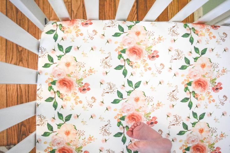 Crib sheet peach floral print - girls fitted crib sheet in a shabby chic pink flower - girly rustic sheet - boho sheet - big flowers